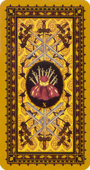 Ten of Arrows Tarot Card - Medieval Cat Tarot Deck