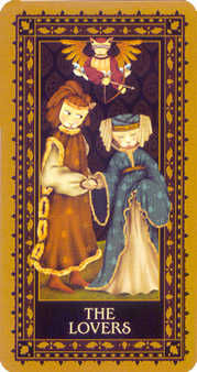 The Lovers Tarot Card - Medieval Cat Tarot Deck