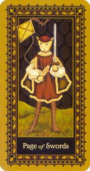 Page of Bats Tarot Card - Medieval Cat Tarot Deck