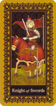 Cavalier of Swords Tarot Card - Medieval Cat Tarot Deck
