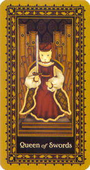 Queen of Swords Tarot Card - Medieval Cat Tarot Deck