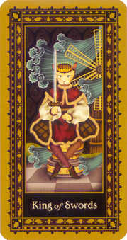 Roi of Swords Tarot Card - Medieval Cat Tarot Deck