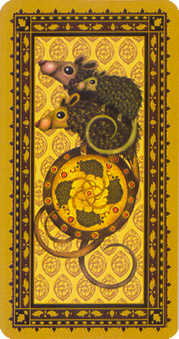 Ace of Pentacles Tarot Card - Medieval Cat Tarot Deck