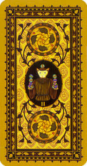Two of Pumpkins Tarot Card - Medieval Cat Tarot Deck