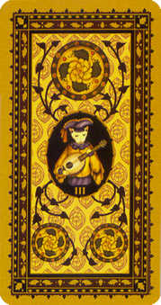 Three of Discs Tarot Card - Medieval Cat Tarot Deck