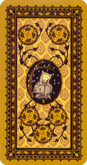 Five of Pumpkins Tarot Card - Medieval Cat Tarot Deck