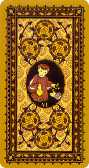 Six of Discs Tarot Card - Medieval Cat Tarot Deck