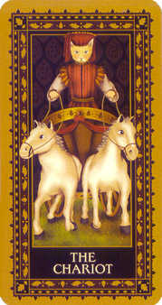 The Chariot Tarot Card - Medieval Cat Tarot Deck