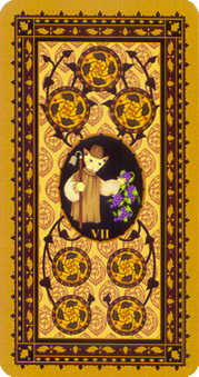 Seven of Discs Tarot Card - Medieval Cat Tarot Deck