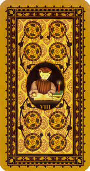 Eight of Discs Tarot Card - Medieval Cat Tarot Deck