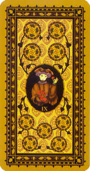 Nine of Coins Tarot Card - Medieval Cat Tarot Deck