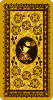 Ten of Pumpkins Tarot Card - Medieval Cat Tarot Deck