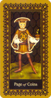 Valet of Coins Tarot Card - Medieval Cat Tarot Deck