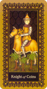 Cavalier of Coins Tarot Card - Medieval Cat Tarot Deck