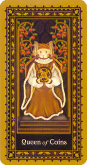 Queen of Discs Tarot Card - Medieval Cat Tarot Deck