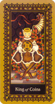 King of Buffalo Tarot Card - Medieval Cat Tarot Deck