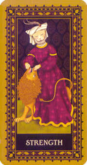 Strength Tarot Card - Medieval Cat Tarot Deck