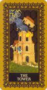 The Tower Tarot card in Medieval Cat Tarot deck