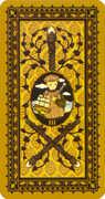 Three of Wands Tarot card in Medieval Cat Tarot deck