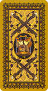 Four of Wands Tarot card in Medieval Cat Tarot deck