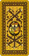 Five of Wands Tarot card in Medieval Cat Tarot deck
