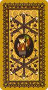 Six of Wands Tarot card in Medieval Cat Tarot deck