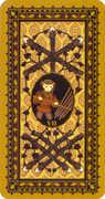 Seven of Wands Tarot card in Medieval Cat Tarot deck