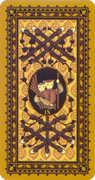 Nine of Wands Tarot card in Medieval Cat Tarot deck