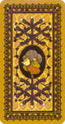 Ten of Wands Tarot card in Medieval Cat Tarot deck