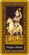 Knight of Wands Tarot card in Medieval Cat Tarot deck