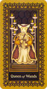 Queen of Wands Tarot card in Medieval Cat Tarot deck
