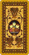 Three of Cups Tarot card in Medieval Cat Tarot deck