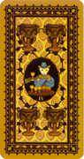 Four of Cups Tarot card in Medieval Cat Tarot deck
