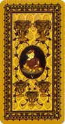Five of Cups Tarot card in Medieval Cat Tarot deck