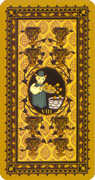 Eight of Cups Tarot card in Medieval Cat deck