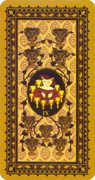 Nine of Cups Tarot card in Medieval Cat Tarot deck