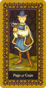 Page of Cups Tarot card in Medieval Cat Tarot deck