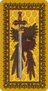 Ace of Swords Tarot card in Medieval Cat Tarot deck