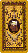 Three of Swords Tarot card in Medieval Cat Tarot deck