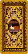 Four of Swords Tarot card in Medieval Cat Tarot deck