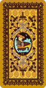 Six of Swords Tarot card in Medieval Cat Tarot deck