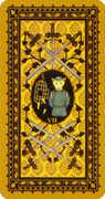Seven of Swords Tarot card in Medieval Cat Tarot deck