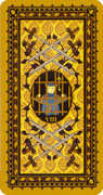Eight of Swords Tarot card in Medieval Cat Tarot deck