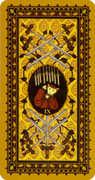 Nine of Swords Tarot card in Medieval Cat Tarot deck