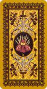 Ten of Swords Tarot card in Medieval Cat Tarot deck