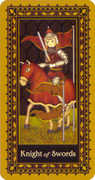 Knight of Swords Tarot card in Medieval Cat Tarot deck