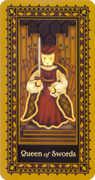 Queen of Swords Tarot card in Medieval Cat deck