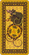Ace of Coins Tarot card in Medieval Cat deck