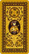 Three of Coins Tarot card in Medieval Cat Tarot deck