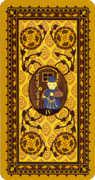 Four of Coins Tarot card in Medieval Cat Tarot deck